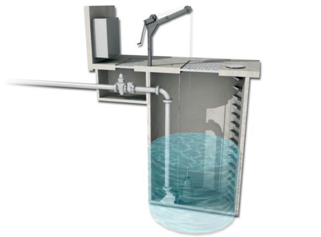 Station de relevage avec pompes submersibles